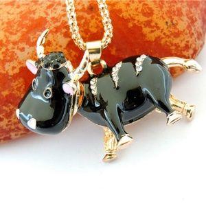 Betsey Johnson Bling Lovely Little Cow Pendant